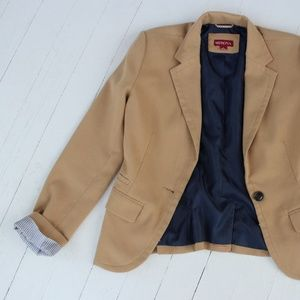 Tan & Navy Blazer with HOT PINK lining (adorable)!